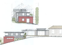 Architectural sketch, water colour. Elevations with landscaping. Architect designed house. Modern extension of heritage home. Multi-level home.