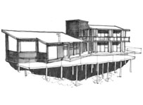A sketch of a modern architect designed house with large deck / outdoor living area. Mono pitch roof with central flat roofed block. Architects sketch, 3D perspective hand drawing.